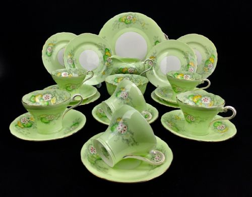 Vintage Aynsley Green Tea Set Corset Shape / 6 People / Trios / Lime Green